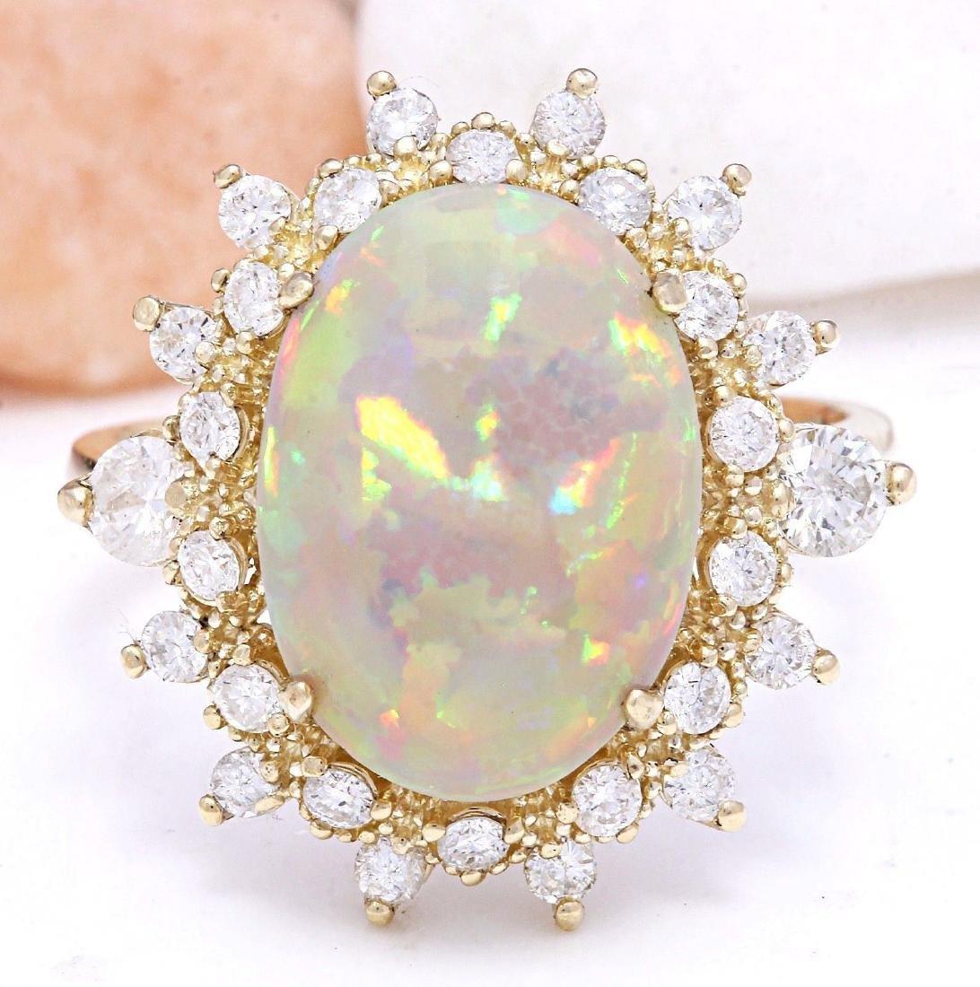 4.85 Carat Natural Opal 18K Solid Yellow Gold Diamond