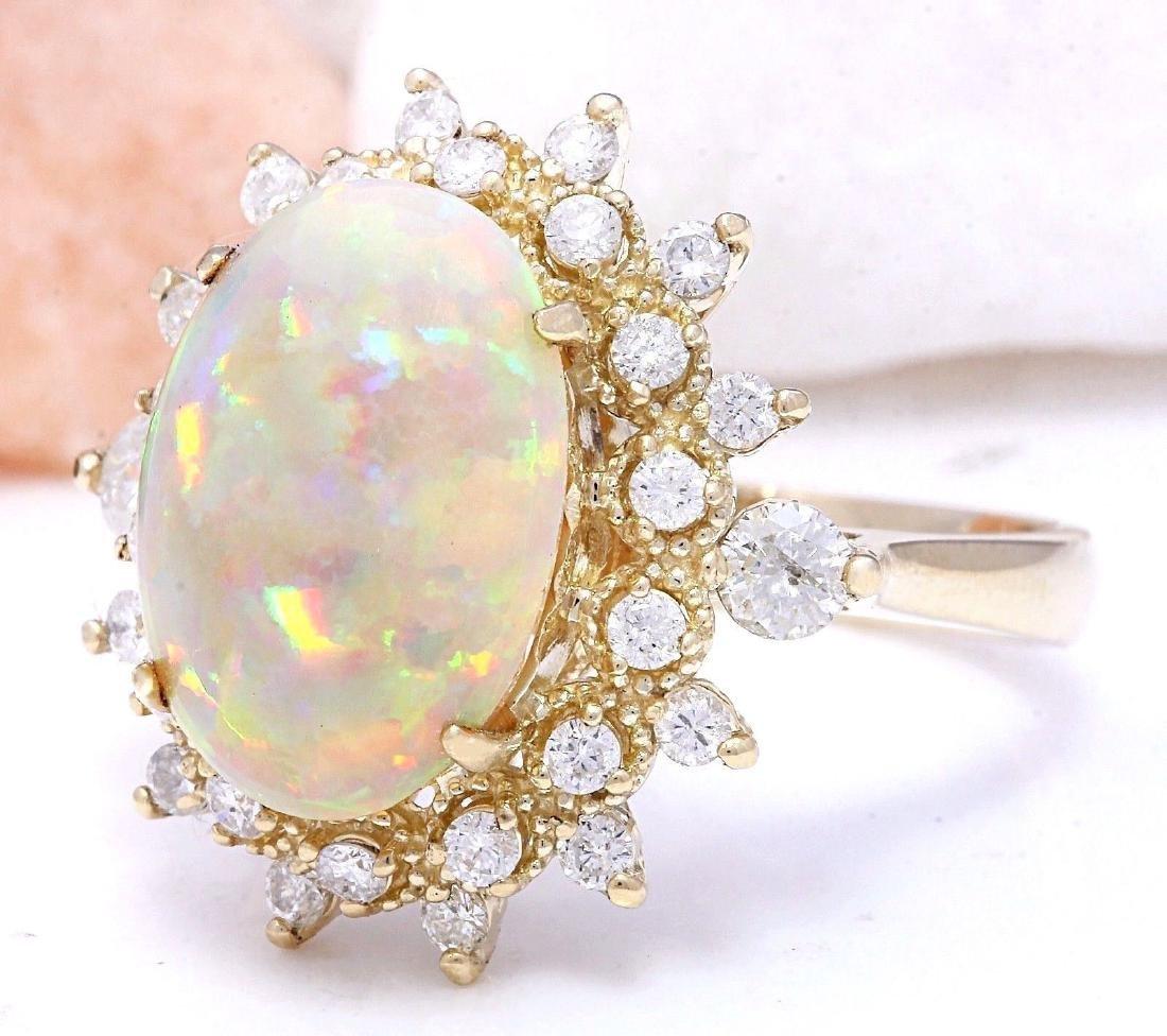 4.85 Carat Natural Opal 18K Solid Yellow Gold Diamond - 2