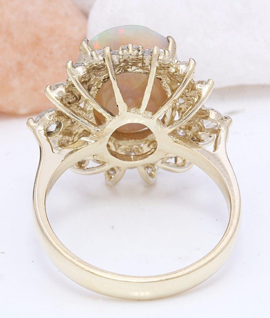 4.85 Carat Natural Opal 18K Solid Yellow Gold Diamond - 3