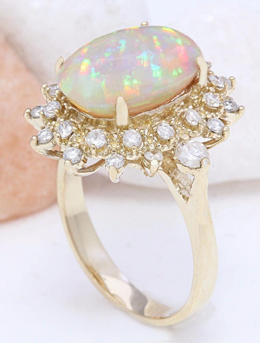 4.85 Carat Natural Opal 18K Solid Yellow Gold Diamond - 4