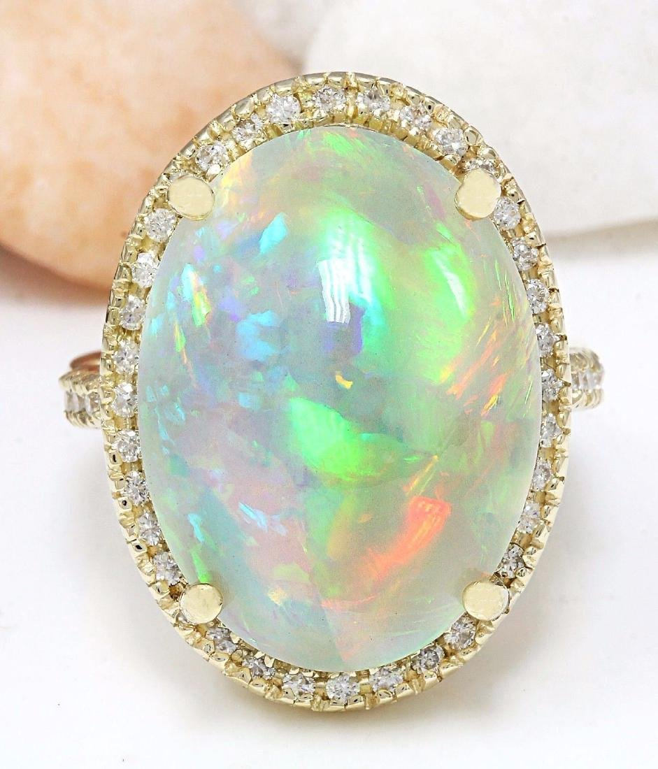 21.58 Carat Natural Opal 18K Solid Yellow Gold Diamond