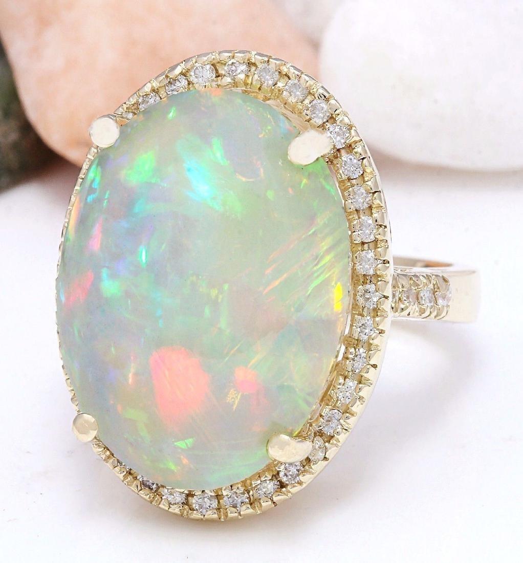 21.58 Carat Natural Opal 18K Solid Yellow Gold Diamond - 2