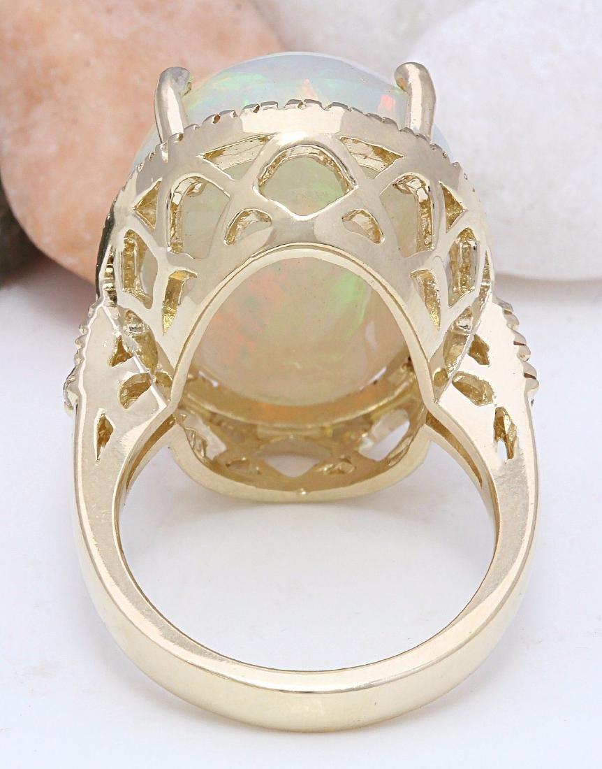 21.58 Carat Natural Opal 18K Solid Yellow Gold Diamond - 3