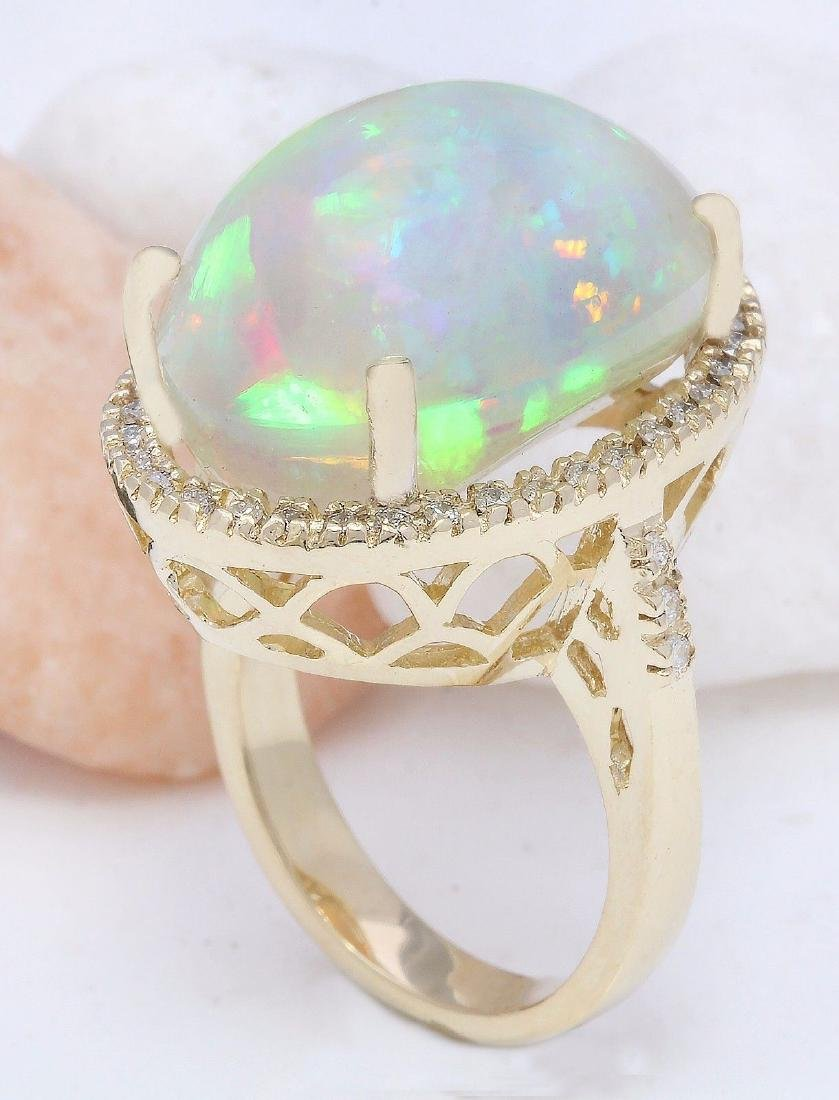 21.58 Carat Natural Opal 18K Solid Yellow Gold Diamond - 4
