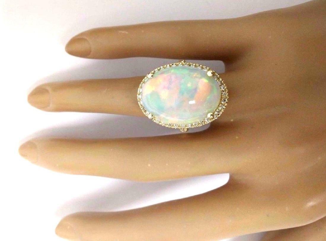 21.58 Carat Natural Opal 18K Solid Yellow Gold Diamond - 5