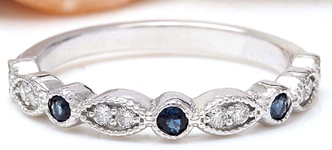 0.20 Carat Natural Sapphire 18K Solid White Gold