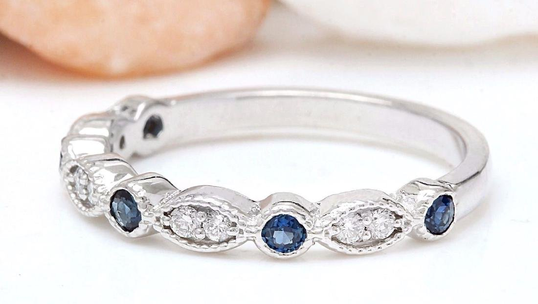 0.20 Carat Natural Sapphire 18K Solid White Gold - 2