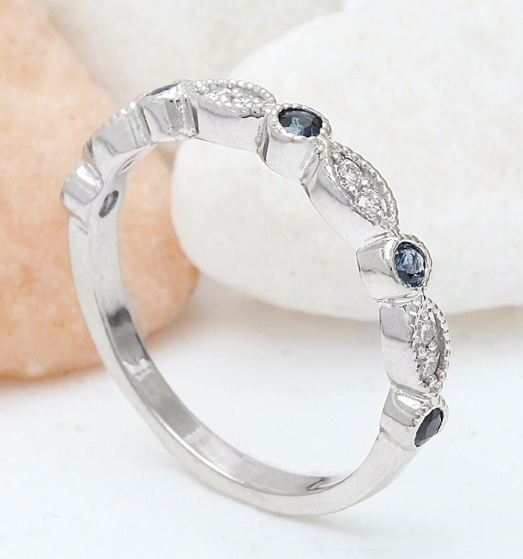 0.20 Carat Natural Sapphire 18K Solid White Gold - 4