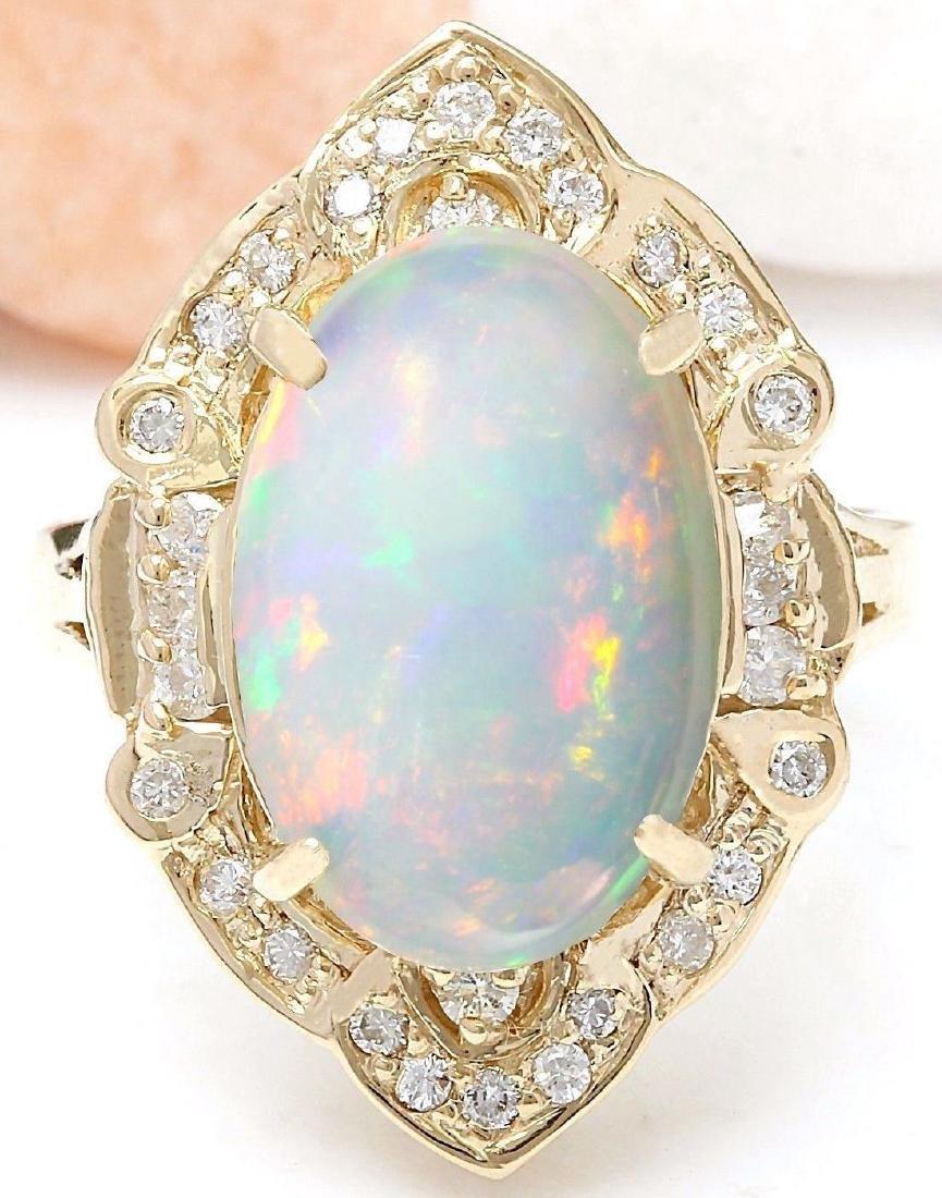 9.05 Carat Natural Opal 18K Solid Yellow Gold Diamond