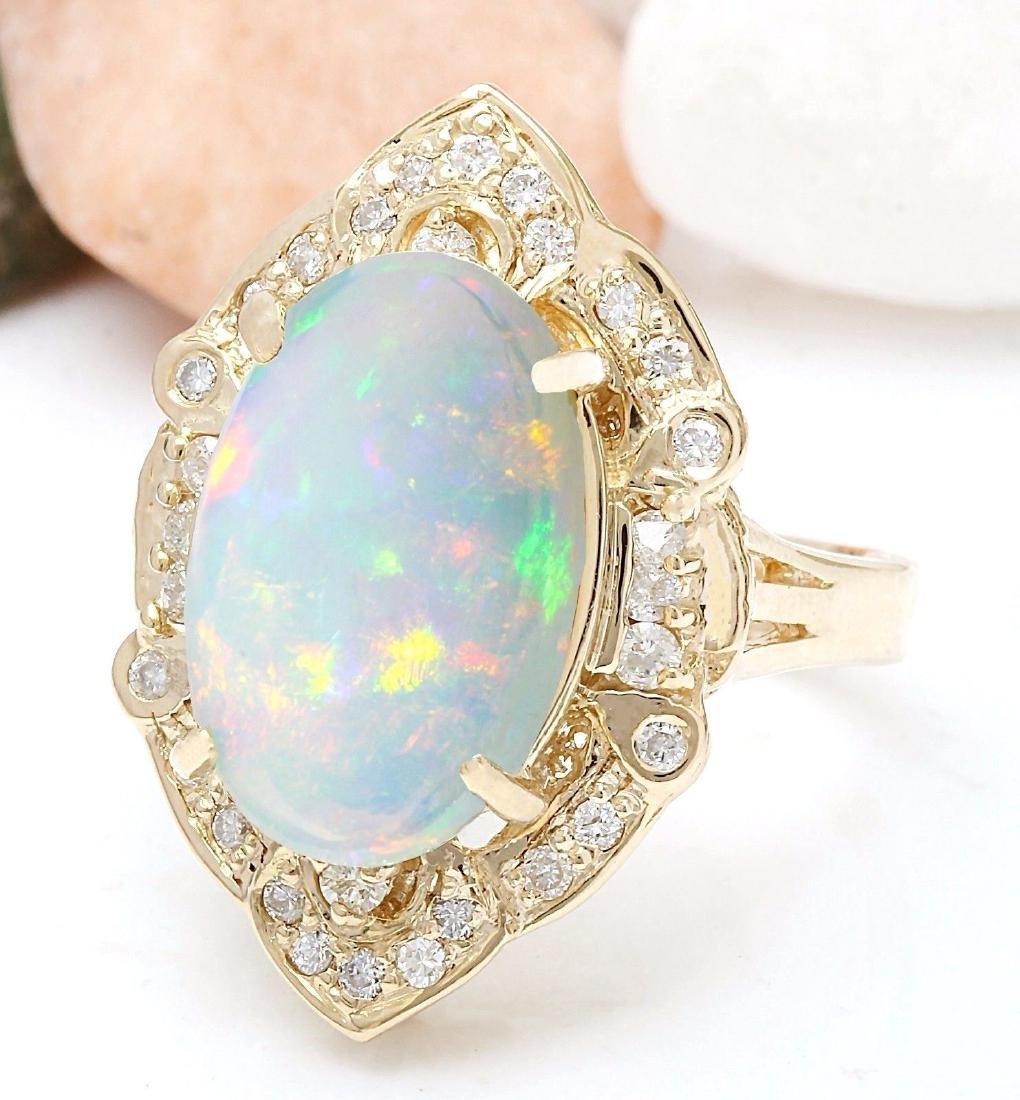 9.05 Carat Natural Opal 18K Solid Yellow Gold Diamond - 2