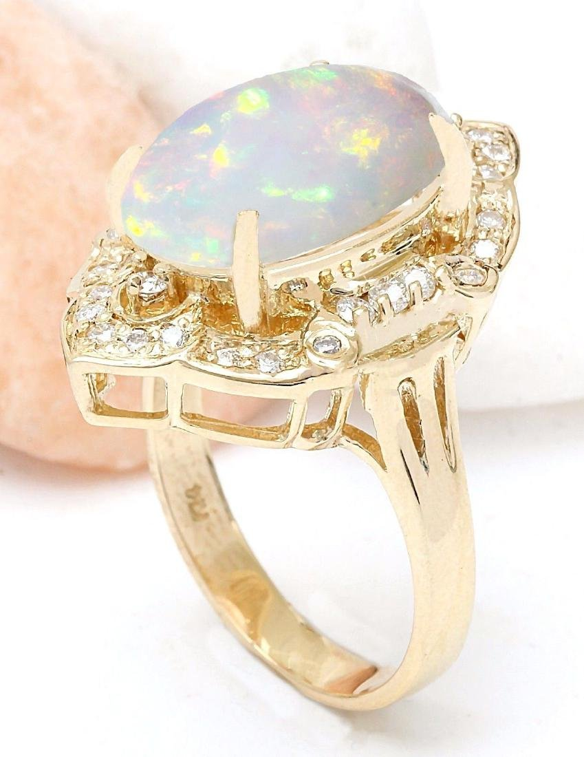9.05 Carat Natural Opal 18K Solid Yellow Gold Diamond - 4