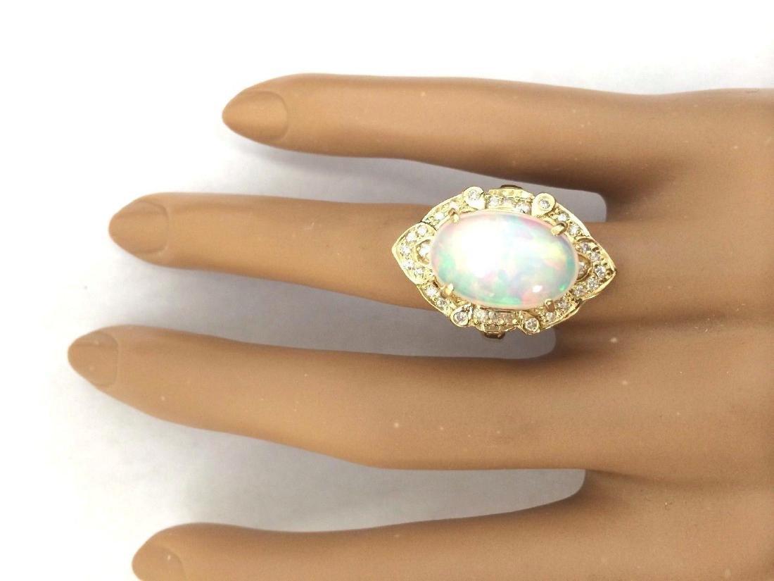 9.05 Carat Natural Opal 18K Solid Yellow Gold Diamond - 5