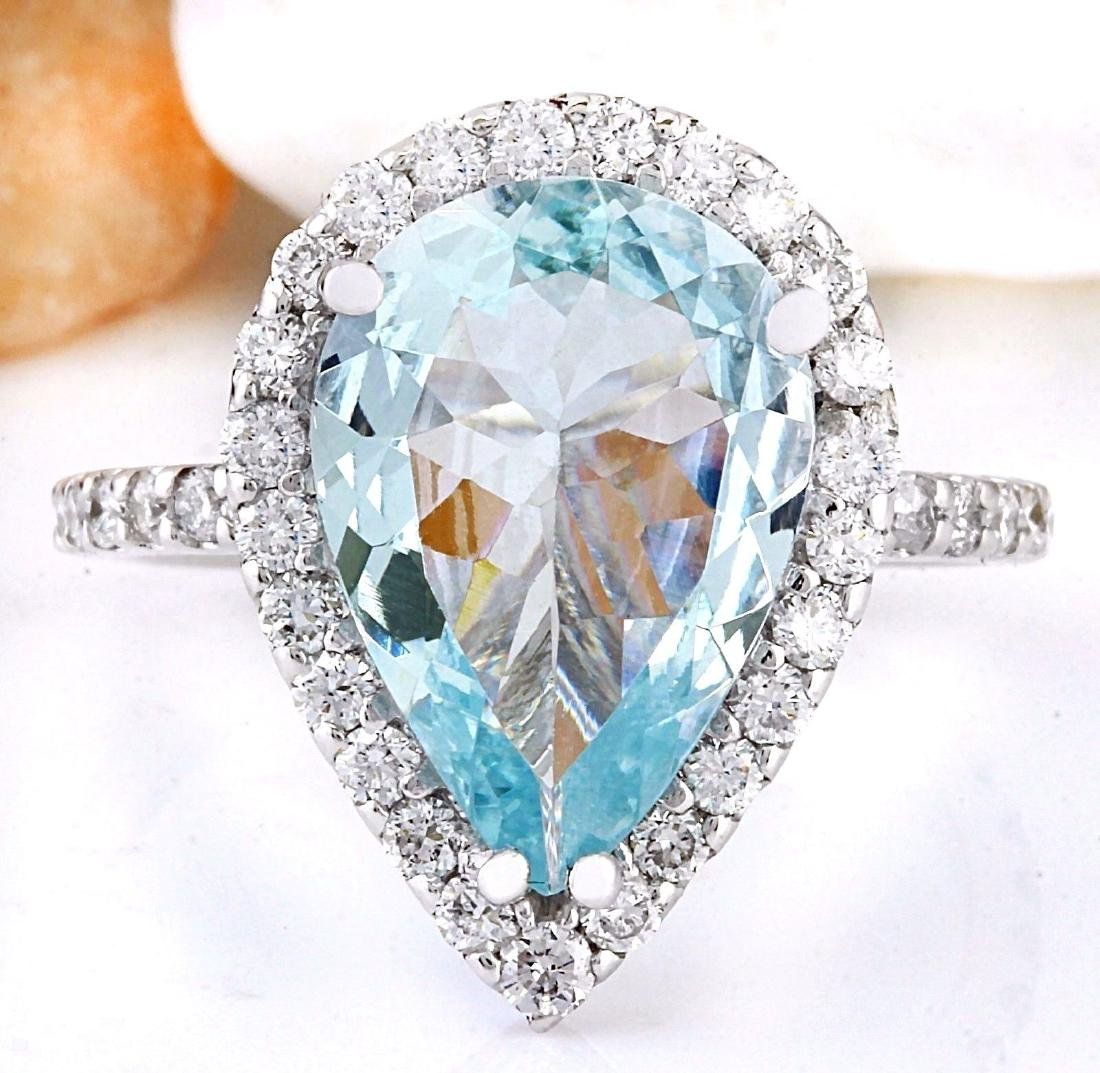 3.82 Carat Natural Aquamarine 18K Solid White Gold