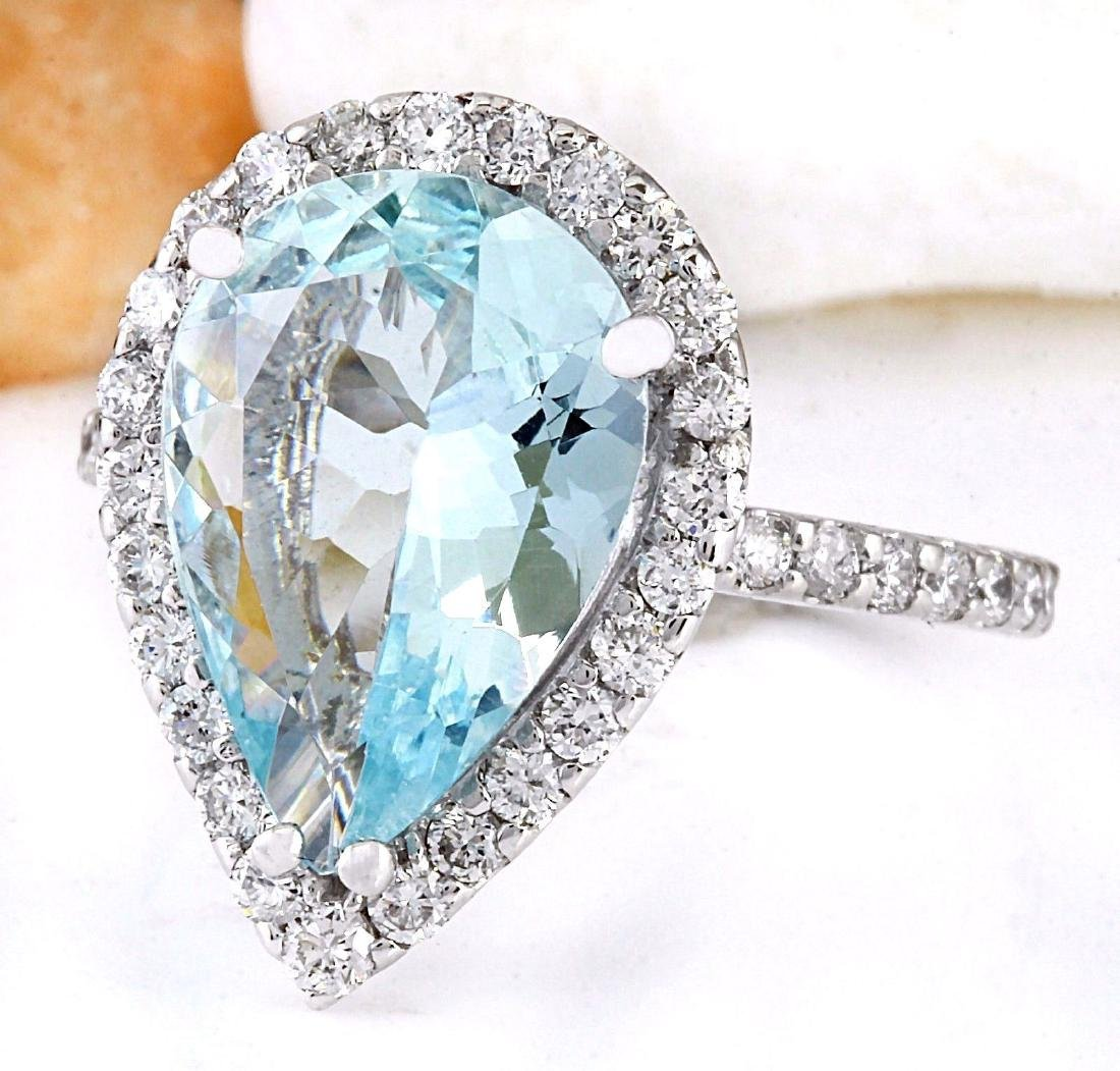 3.82 Carat Natural Aquamarine 18K Solid White Gold - 2