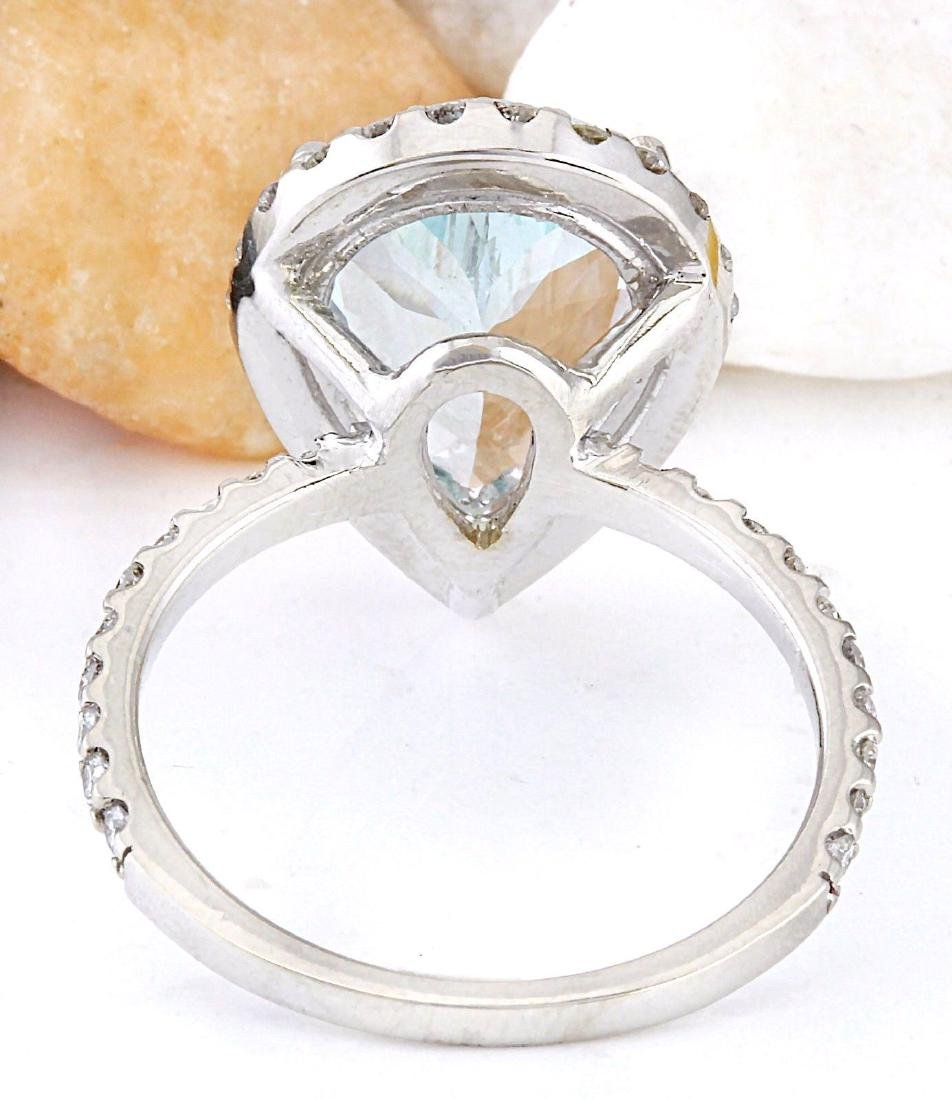 3.82 Carat Natural Aquamarine 18K Solid White Gold - 3