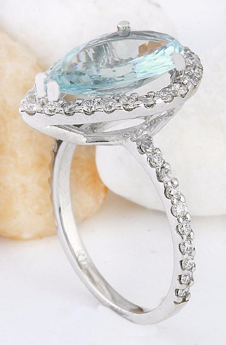3.82 Carat Natural Aquamarine 18K Solid White Gold - 4