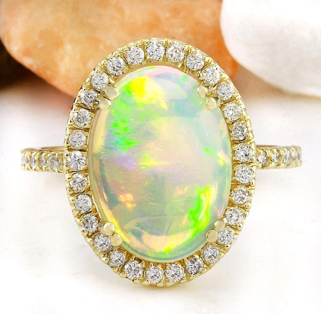 3.60 Carat Natural Opal 18K Solid Yellow Gold Diamond