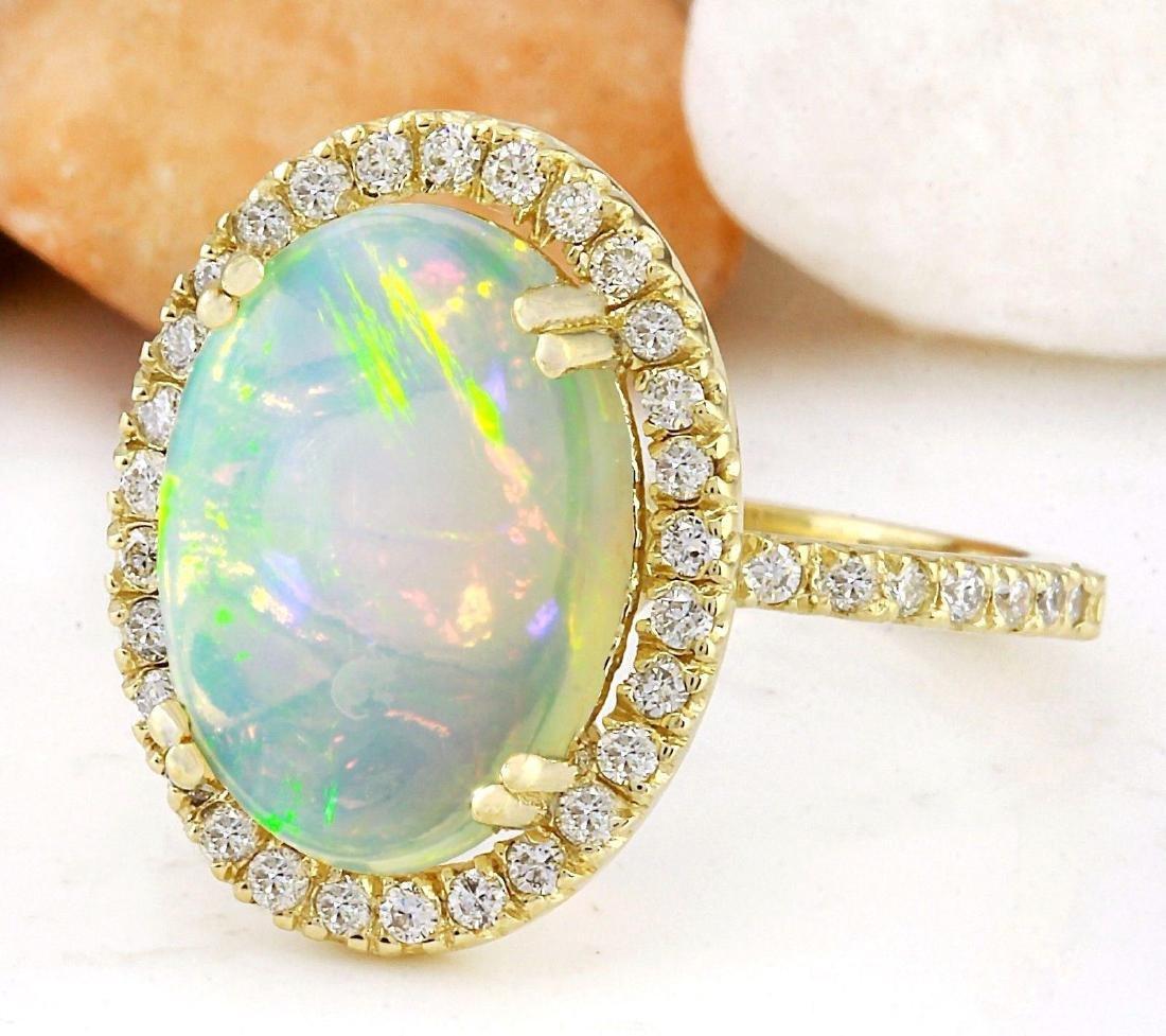 3.60 Carat Natural Opal 18K Solid Yellow Gold Diamond - 2