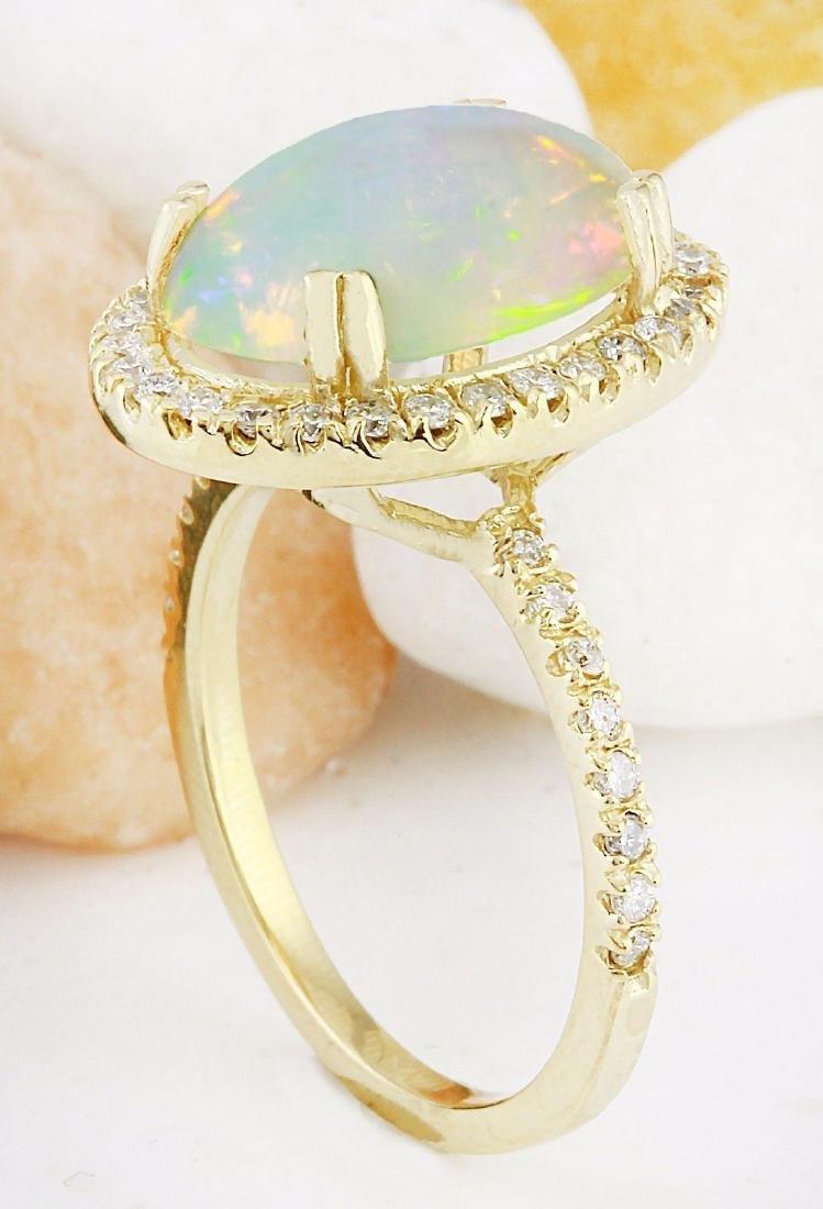 3.60 Carat Natural Opal 18K Solid Yellow Gold Diamond - 4