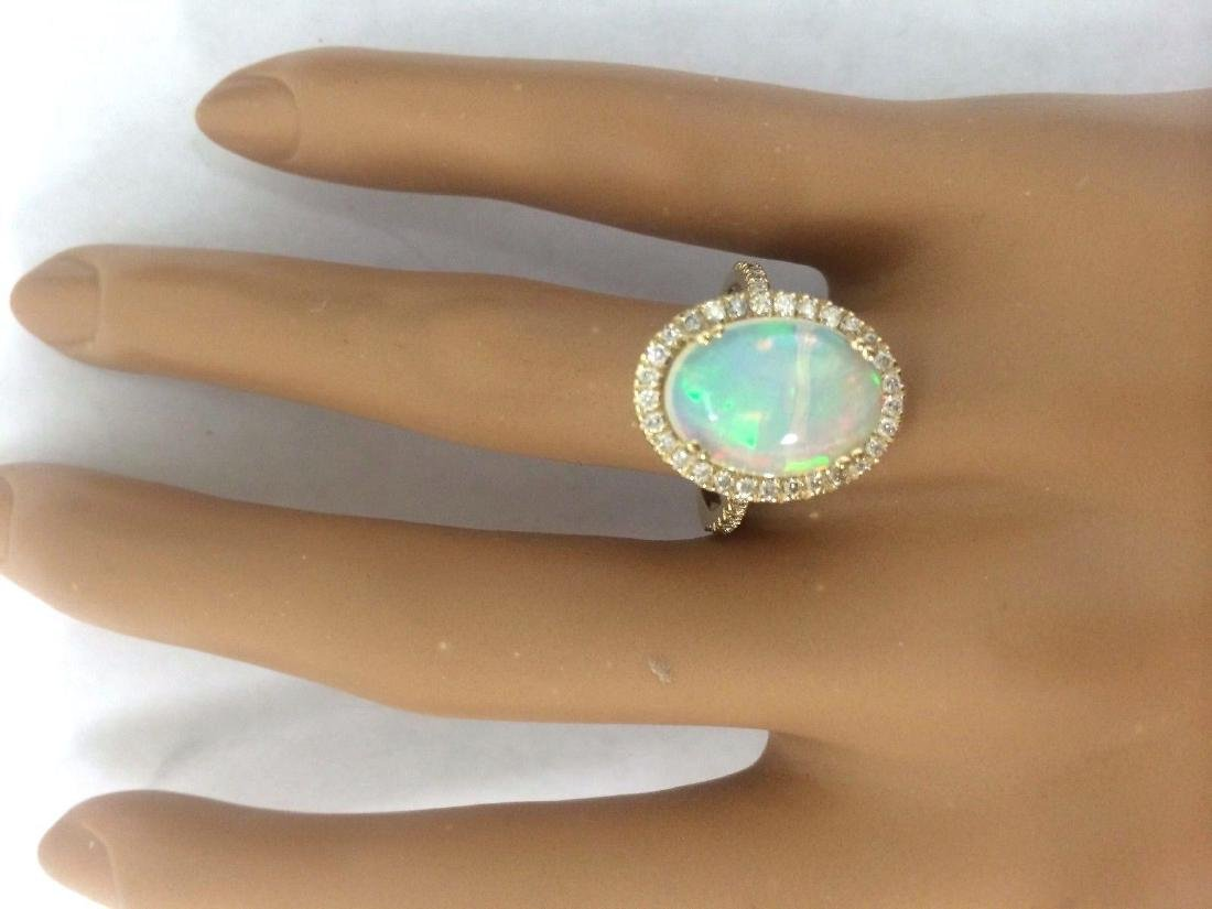 3.60 Carat Natural Opal 18K Solid Yellow Gold Diamond - 5