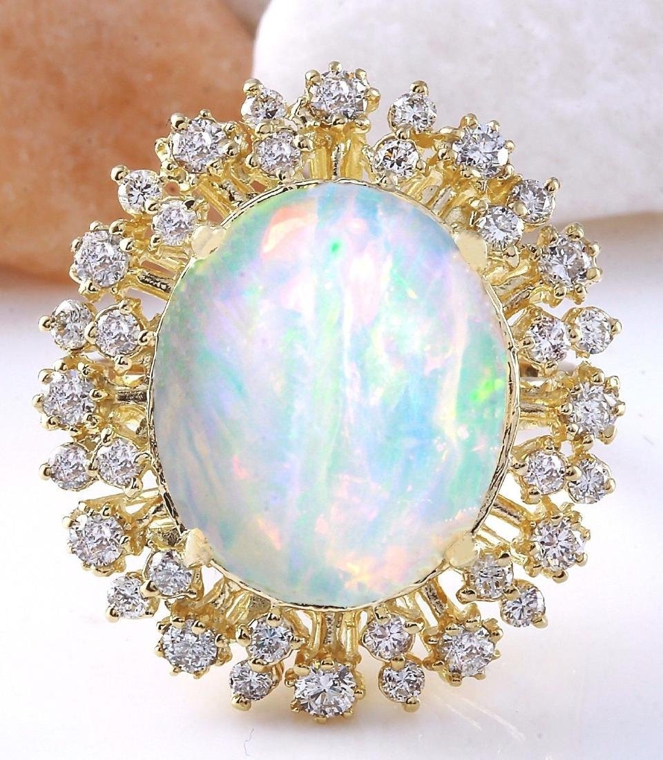8.75 Carat Natural Opal 18K Solid Yellow Gold Diamond