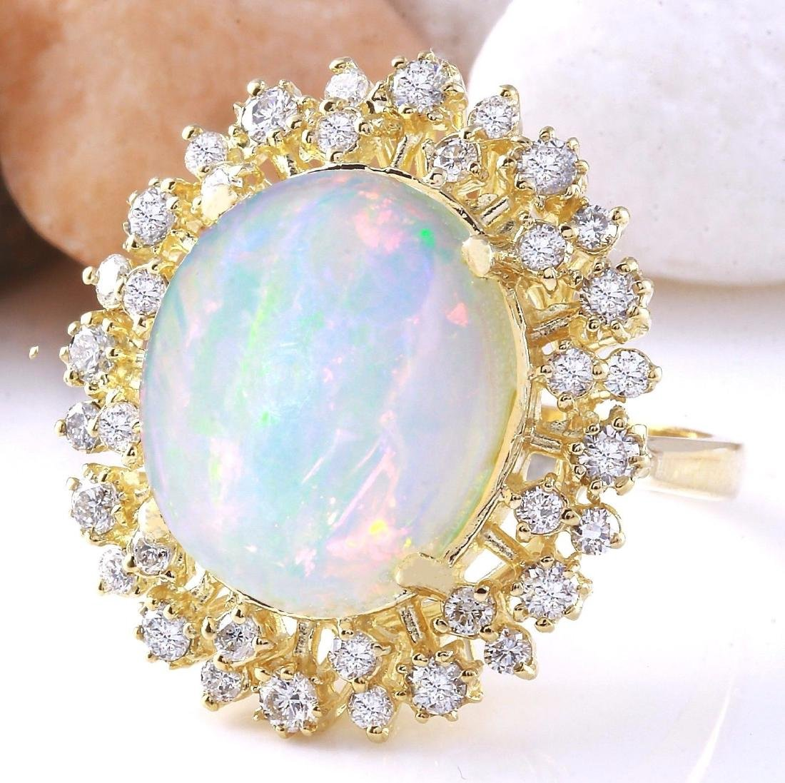 8.75 Carat Natural Opal 18K Solid Yellow Gold Diamond - 2