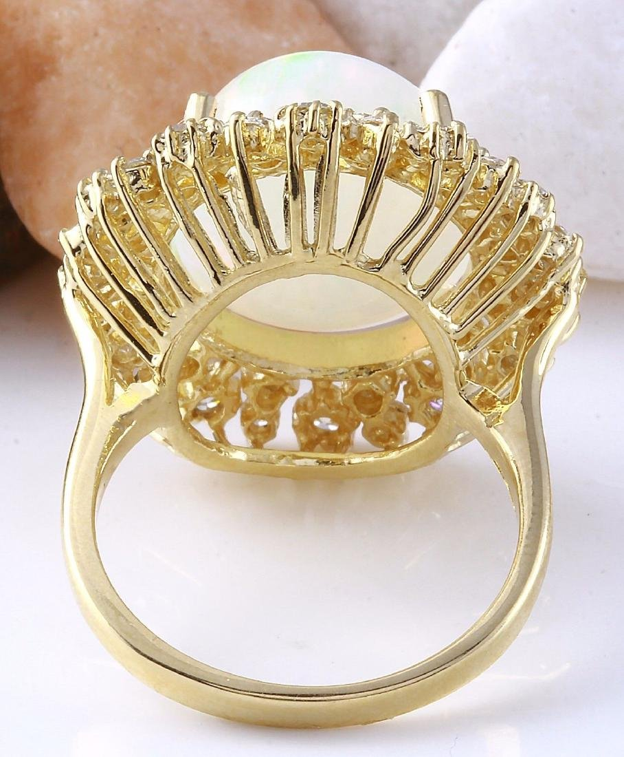8.75 Carat Natural Opal 18K Solid Yellow Gold Diamond - 3