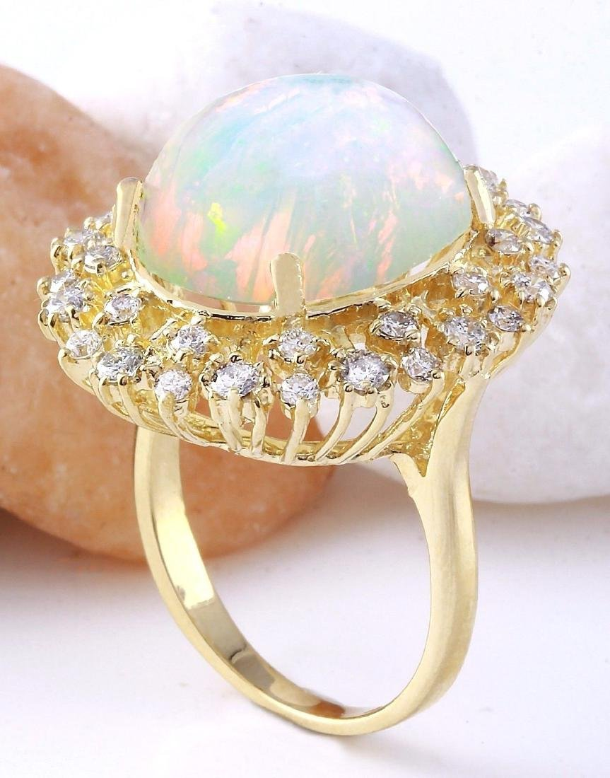 8.75 Carat Natural Opal 18K Solid Yellow Gold Diamond - 4