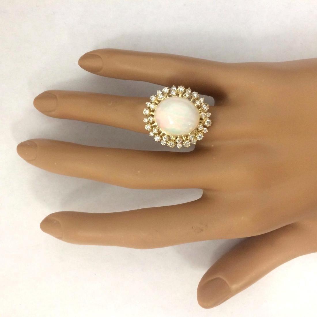 8.75 Carat Natural Opal 18K Solid Yellow Gold Diamond - 5