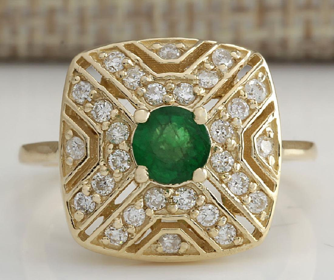 .95CTW Natural Emerald And Diamond Ring 14K Solid