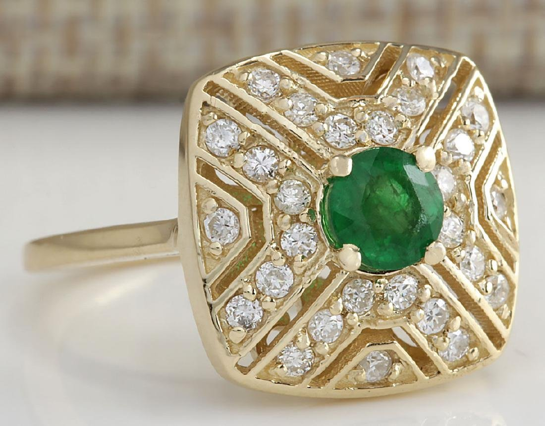 .95CTW Natural Emerald And Diamond Ring 14K Solid - 2