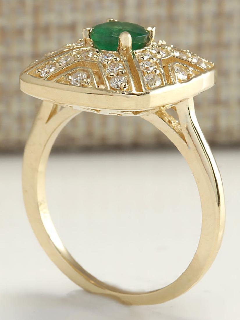 .95CTW Natural Emerald And Diamond Ring 14K Solid - 3