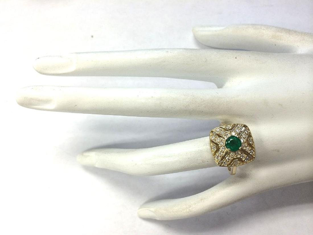 .95CTW Natural Emerald And Diamond Ring 14K Solid - 4