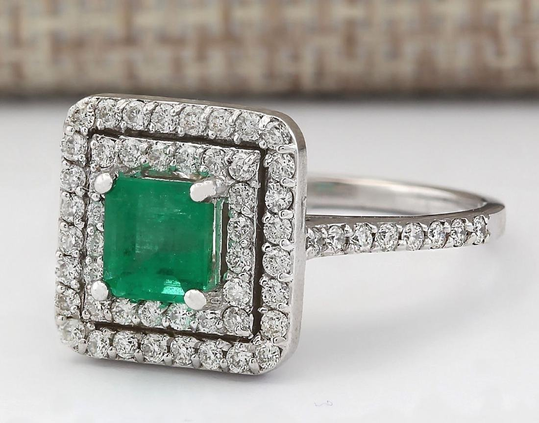 1.70 CTW Natural Emerald And Diamond Ring In 14k White - 2