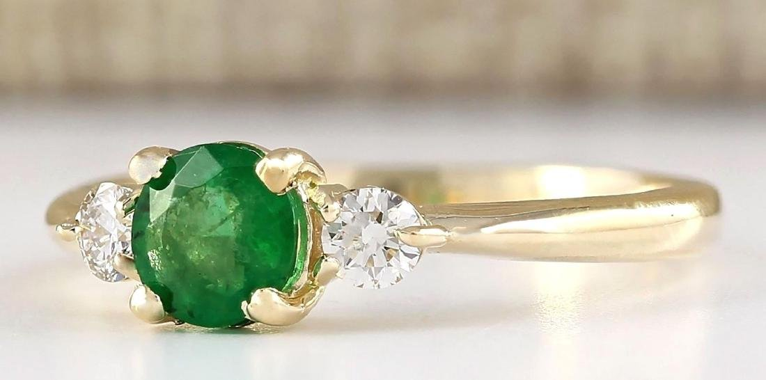 .70 CTW Natural Emerald And Diamond Ring In 14k Yellow - 2