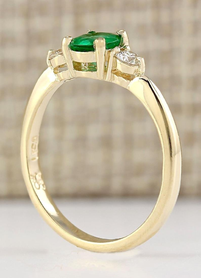 .70 CTW Natural Emerald And Diamond Ring In 14k Yellow - 3