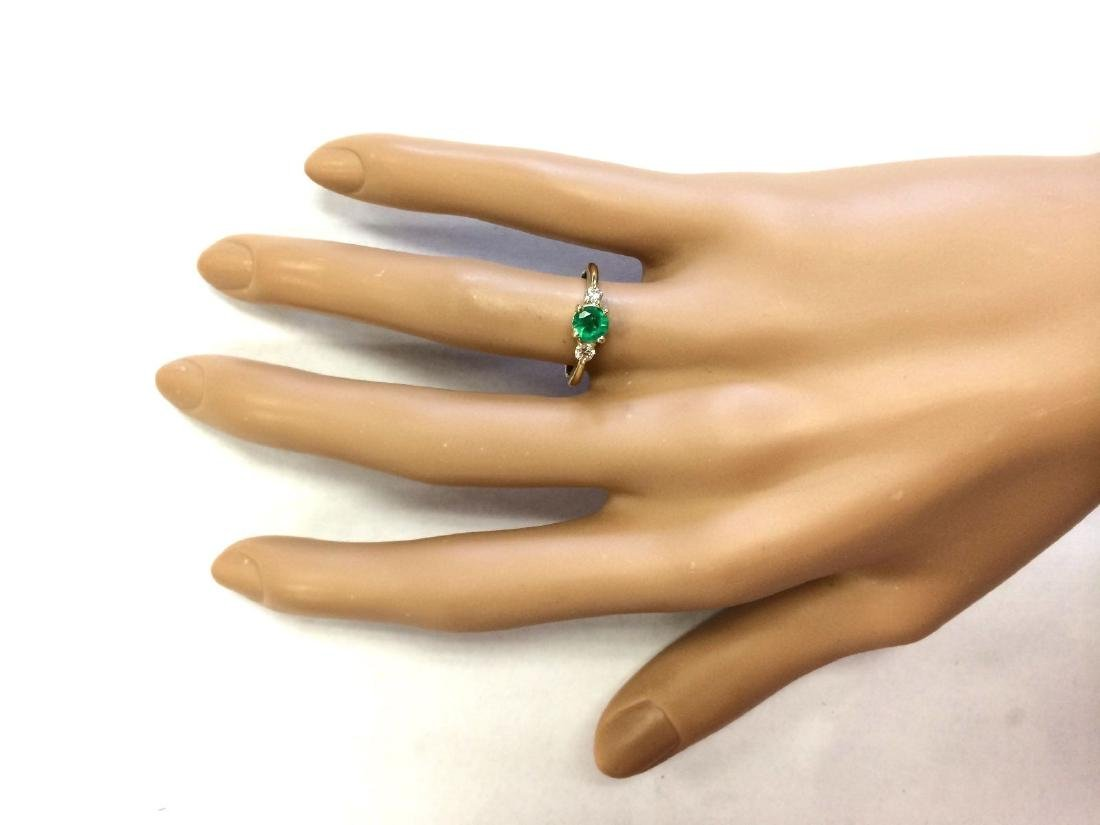 .70 CTW Natural Emerald And Diamond Ring In 14k Yellow - 4