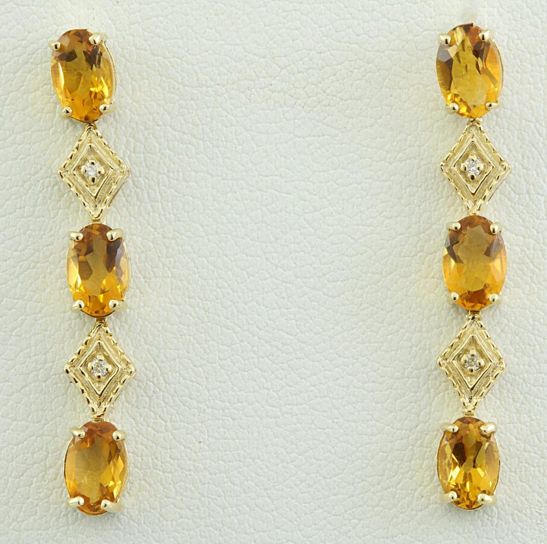 2.65 Carat Citrine 14K Yellow Gold Diamond Earrings