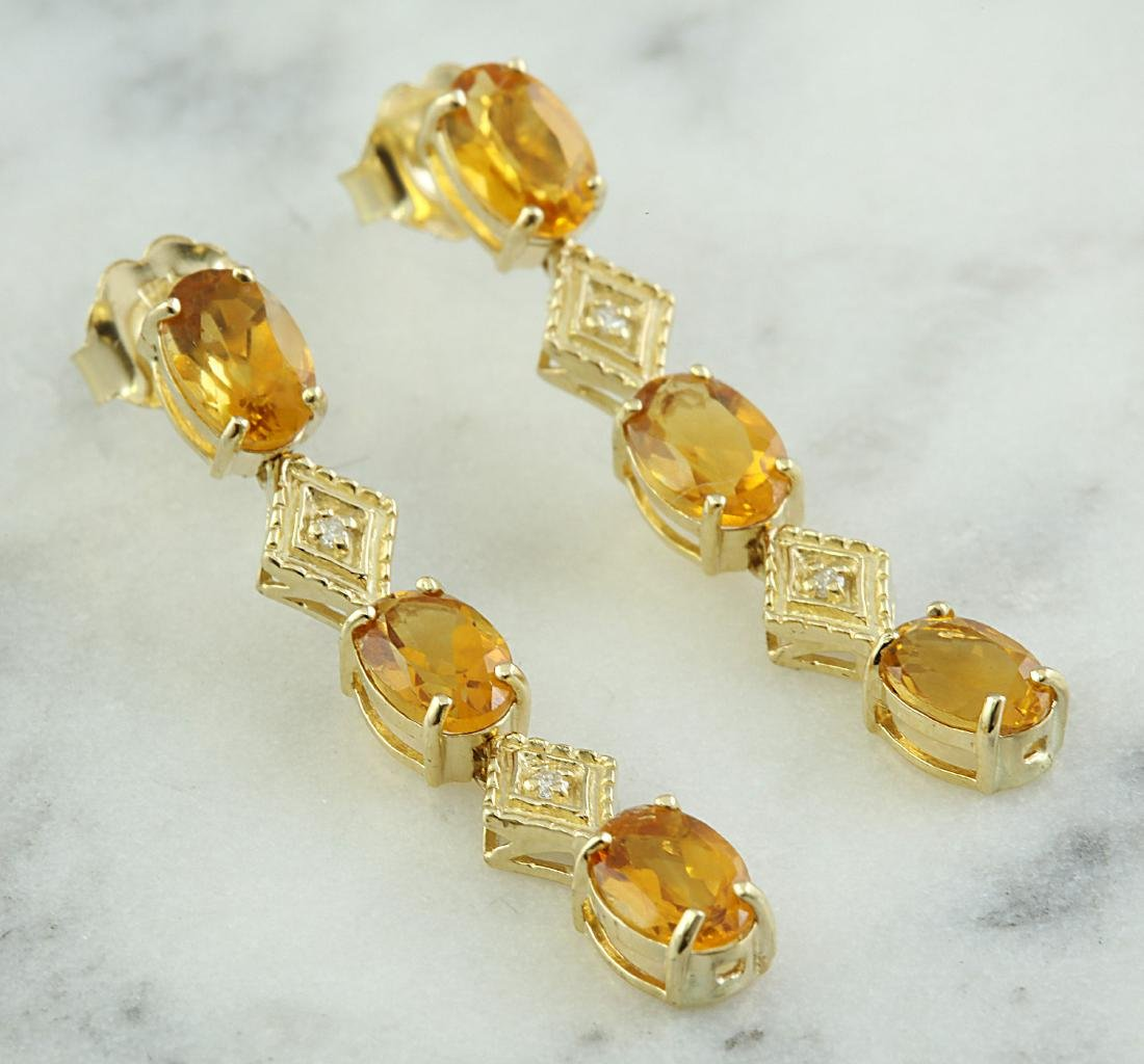 2.65 Carat Citrine 14K Yellow Gold Diamond Earrings - 2