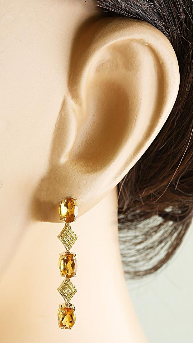 2.65 Carat Citrine 14K Yellow Gold Diamond Earrings - 4