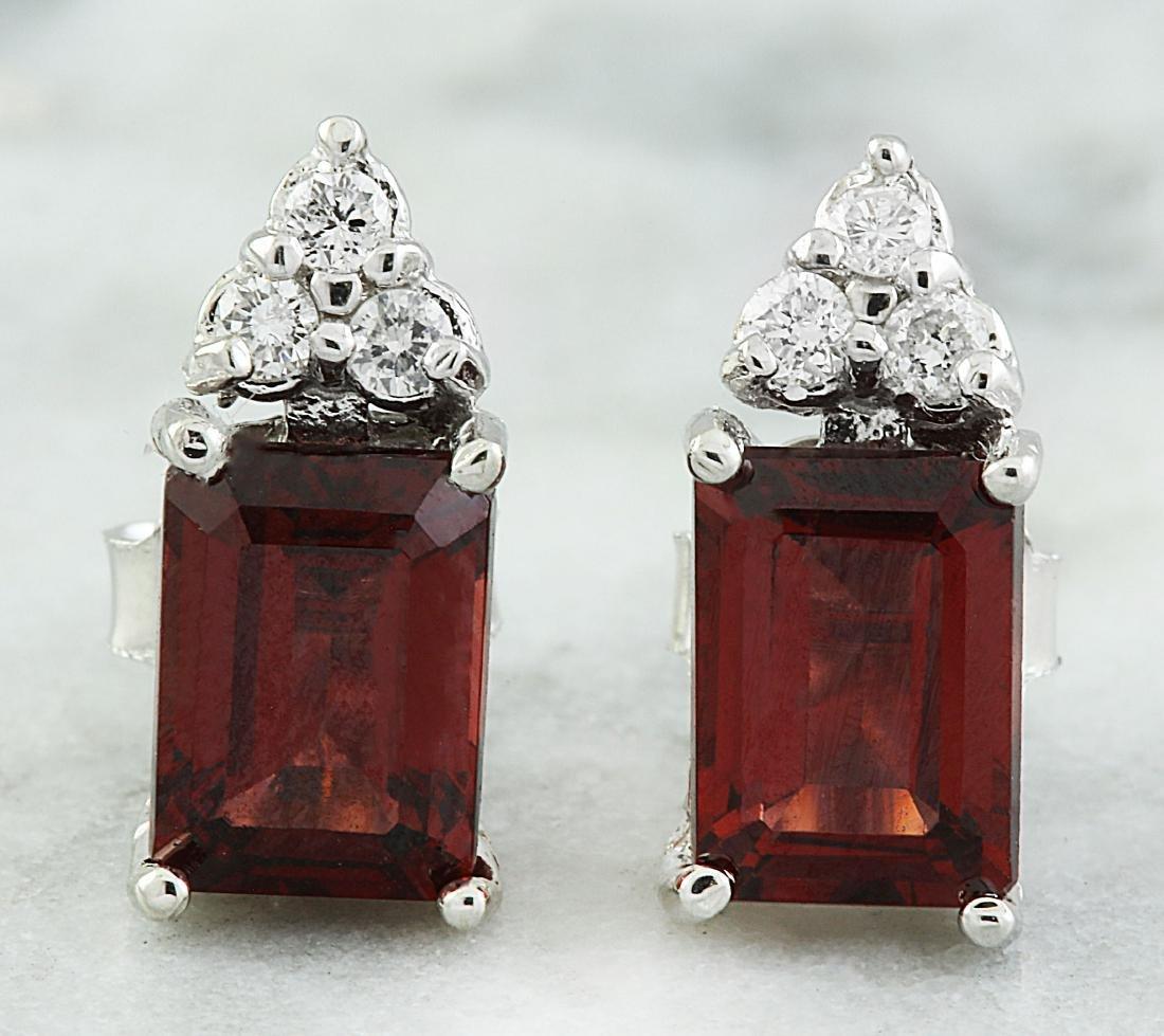 2.65 Carat Garnet 14K White Gold Diamond Earrings