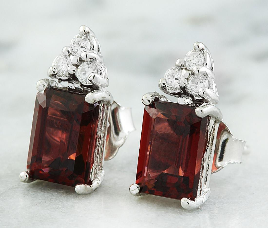 2.65 Carat Garnet 14K White Gold Diamond Earrings - 2