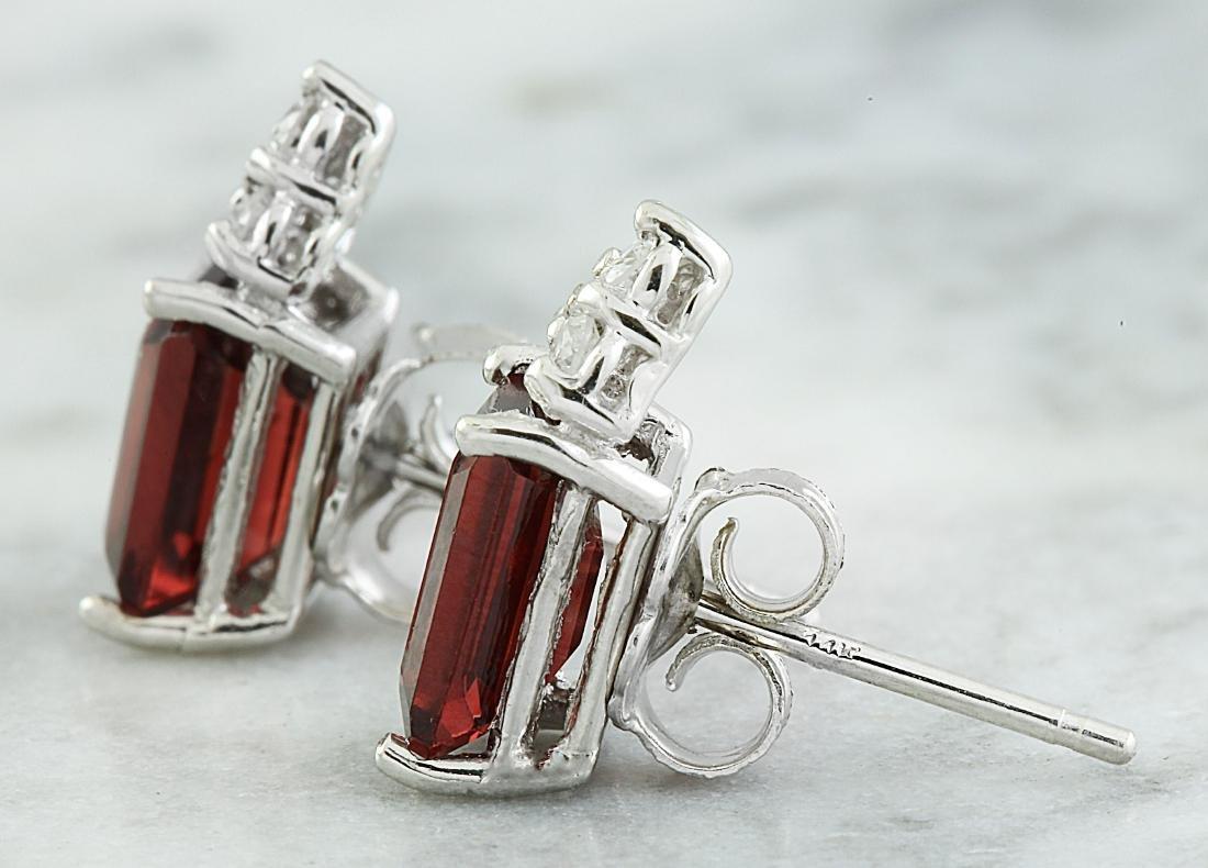 2.65 Carat Garnet 14K White Gold Diamond Earrings - 3