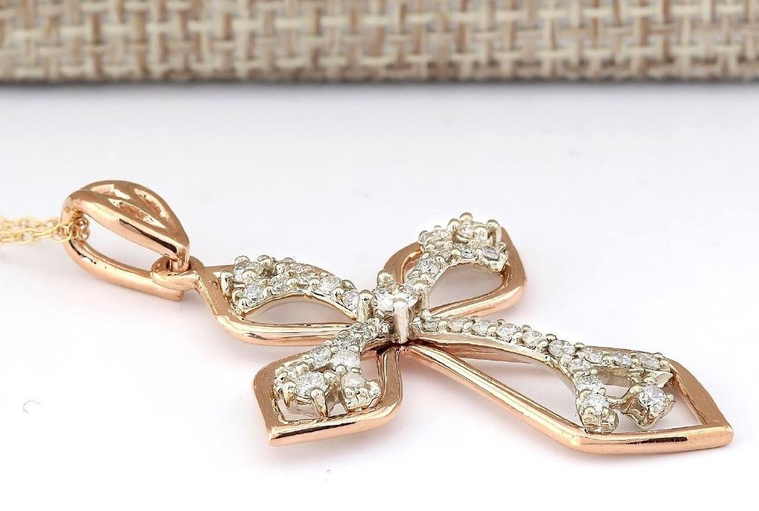 .70 CTW Natural Diamond Pendant In 14k Solid Rose Gold - 4