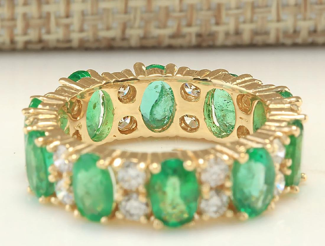 5.71CTW Natural Emerald And Diamond Ring In 18K Yellow - 2