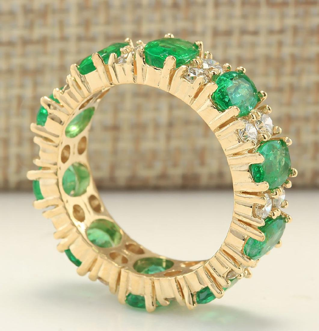 5.71CTW Natural Emerald And Diamond Ring In 18K Yellow - 3