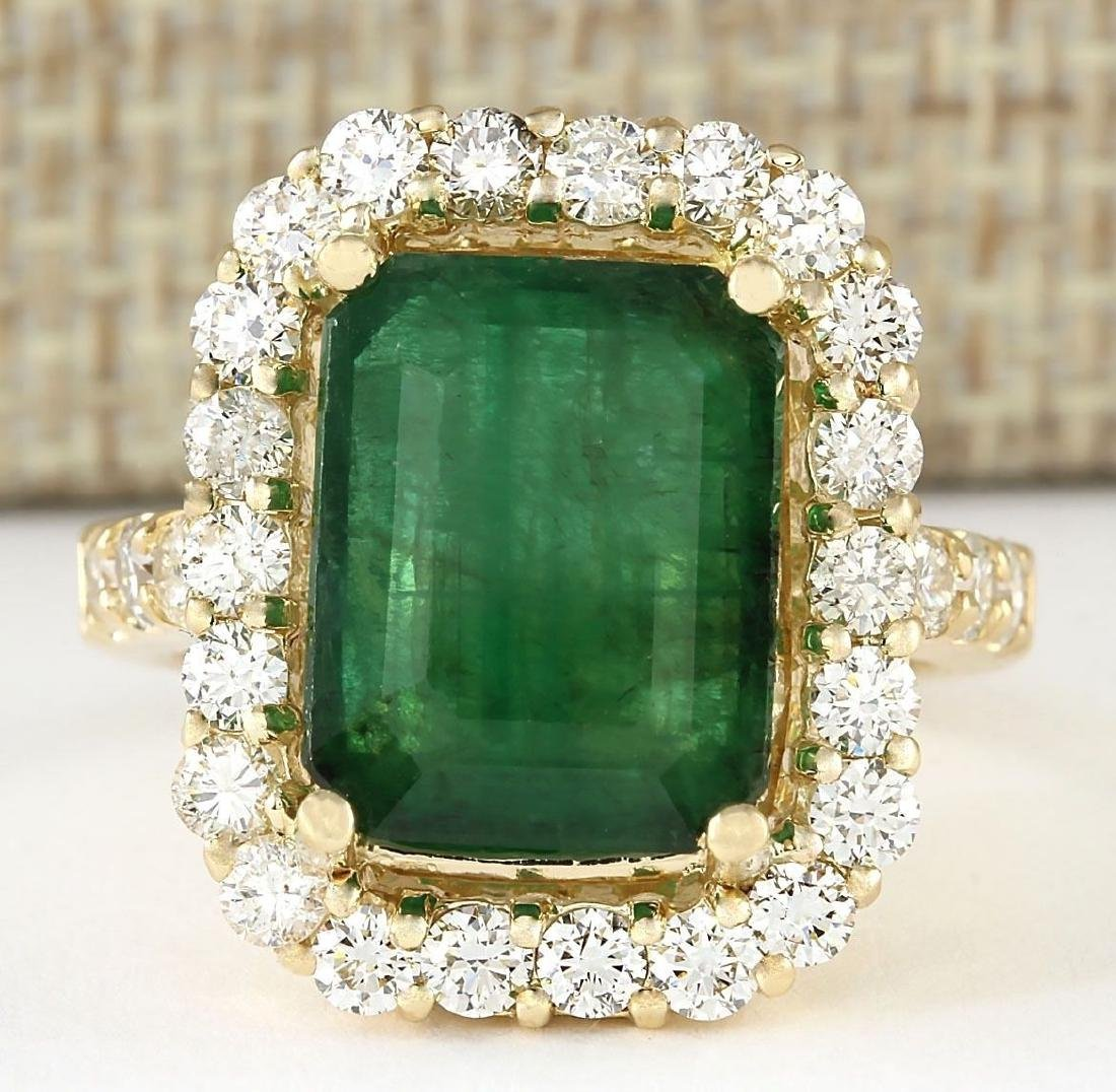 7.91 CTW Natural Emerald And Diamond Ring In 18K Yellow