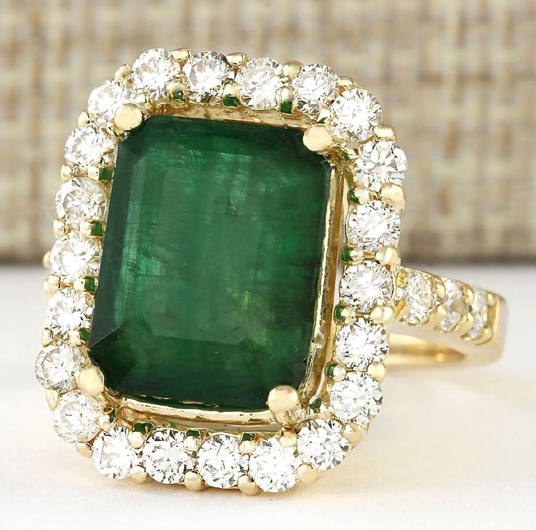 7.91 CTW Natural Emerald And Diamond Ring In 18K Yellow - 2