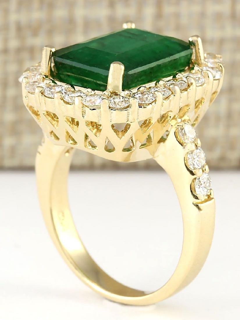 7.91 CTW Natural Emerald And Diamond Ring In 18K Yellow - 3