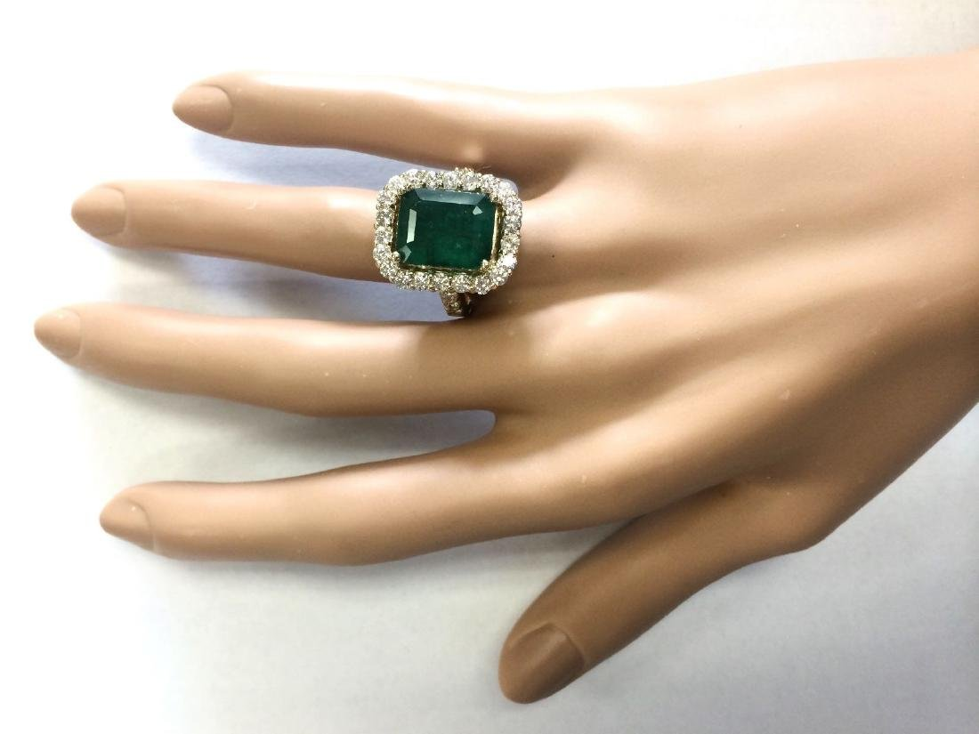 7.91 CTW Natural Emerald And Diamond Ring In 18K Yellow - 4